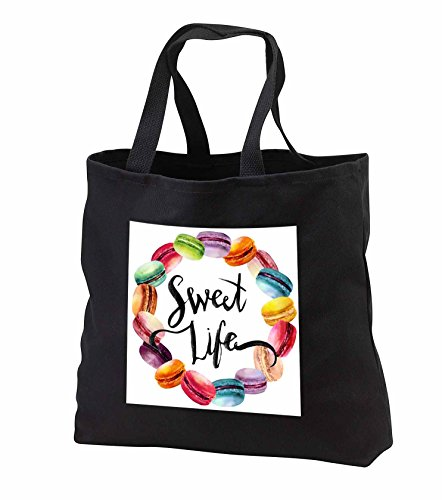 Price comparison product image Anne Marie Baugh - Watercolor - Cute French Macaroon Cookies Wreath With Sweet Life - Tote Bags - Black Tote Bag JUMBO 20w x 15h x 5d (tb_252889_3)