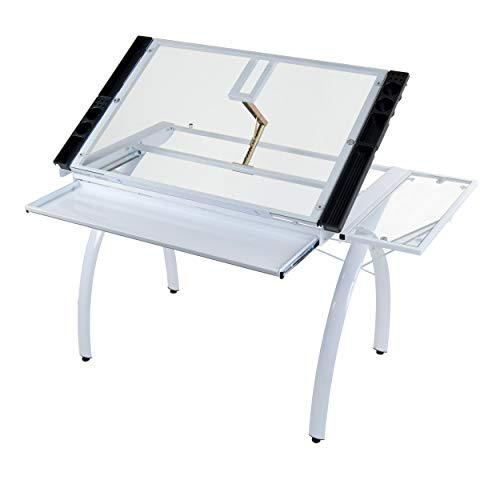 SD STUDIO DESIGNS Futura Craft Station w/ Folding Shelf, Top Adjustable Drafting Table Craft Table Drawing Desk Hobby Table Writing Desk Studio Desk with Drawer, 35.5''W x 23.75''D, White/Clear Glass
