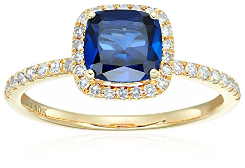 10k Yellow Gold Created Blue Sapphire and Diamond Cushion Engagement Ring (1/4cttw, H-I Color, I1-I2 Clarity), Size (Best Yellow Sapphire)