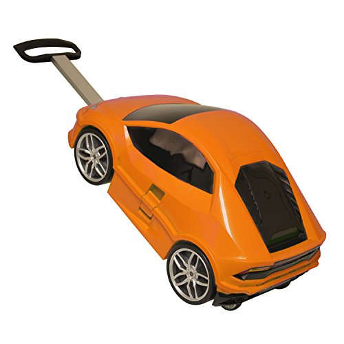 Tangerine Orange Lamborghini Theme Carry On Luggage Hardtop Hardside Roller Set, Stylish Car Themed Hard Side Top Suitcase Upright Spinner Wheels by DH