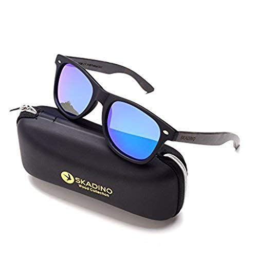 SKADINO Justin Blue Beech Wood Bamboo Sunglasses with Polarized Lens-Grey Lens
