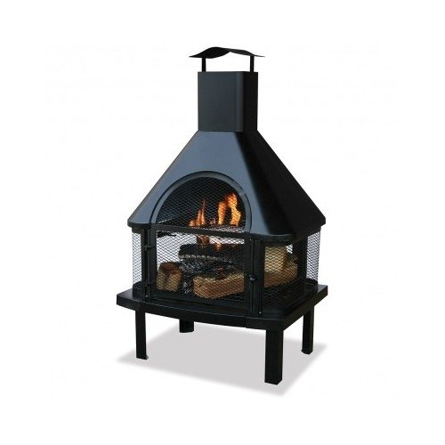 Blue Rhino 360 Degree Uni-Flame Outdoor Patio Firehouse Fire Pit (Black), Metal, Wood Grate