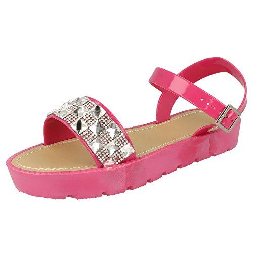 Savannah Damen Riemen Sandale mit Zierstein Besatz Fuchsia