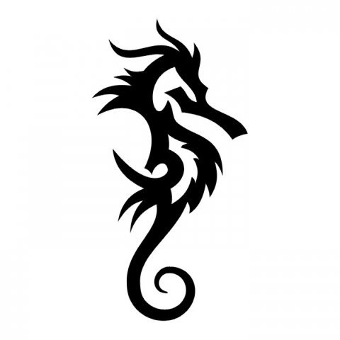 Tatuaje tribal de un caballito de mar, etiqueta de vinilo pared ...