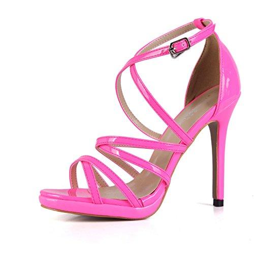 Best 4U® Sandalias de verano de la muchacha de las mujeres Premium PU 12 CM tacones altos bombas de punta abierta correas cruzadas una hebilla zapatos de color sólido , fuchsia , EU35