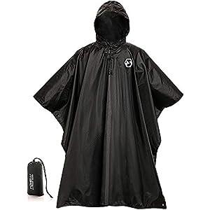 Foxelli Hooded Rain Poncho – Waterproof Emergency Military Raincoat for Adult Men & Women – Lightweight, Multi-Use, Reusable Rain Gear for Hiking, Camping, Fishing, Festivals