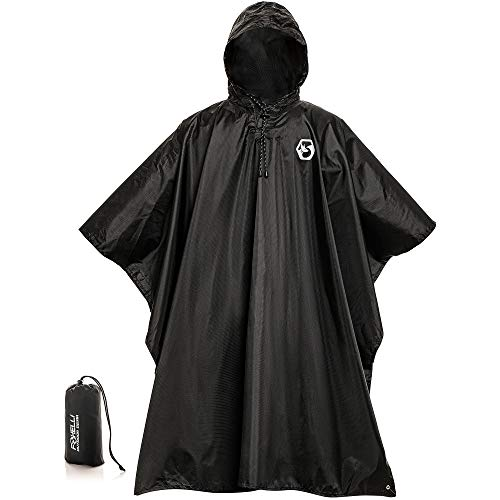 Tall Rain Gear - Foxelli Hooded Rain Poncho - Waterproof Emergency Military Raincoat for Adult Men & Women - Lightweight, Multi-Use, Reusable Rain Gear for Hiking, Camping, Fishing, Festivals