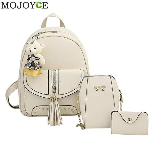 Amazon.com  3Pcs Backpacks Set Women Tassel PU Leather for Teenage Girls  Composite Shoulder Card Bag Female Bear Solid Backpack  Kitchen   Dining 8ae41efa8cf44