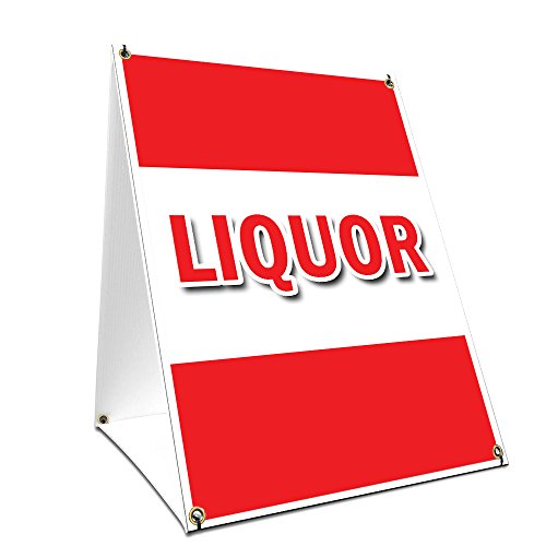A-Frame Sidewalk Liquor Sign with Graphics On Each Side | 18