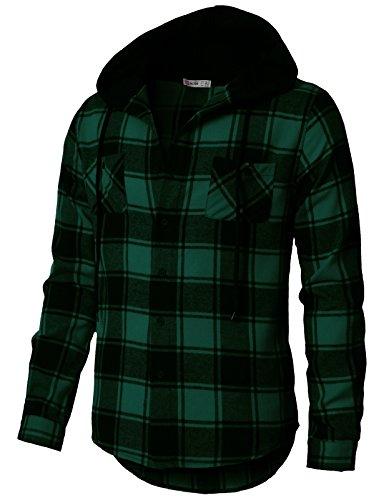 H2H Men's Lodge Long Sleeve Woven Flannel Shirt Hooded Jacket GREENUS 2XL/Asia 3XL (CMOJA0105) ()
