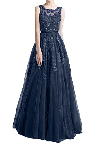 Ivydressing Gorgeous Scoop Neck Regular Straps Beaded Evening Prom Gowns-10-Navy Blue - Beaded Strap Charmeuse Dress