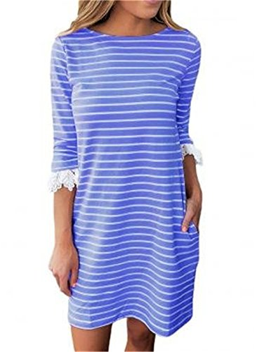 YOUHUA Women Stripe 3 4 Lace Sleeve Crewneck T-Shirt Dress with Pocket Casual Midi Dress(S-XL)(YJ0712-blue-XL)