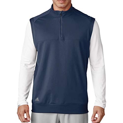 adidas Golf Mens Quarter-Zip Club Vest (A271) -Dark Slate -XL
