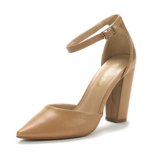 - DREAM PAIRS Women's Coco Nude Pu Mid Heel Pump Shoes - 7 M US