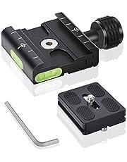 """UTEBIT 50 mm Quick Release camera snelwisselplaat klem plaat adapter statief snelkoppeling met wisselplaat 1/4"""" 3/8"""" schroef adapter waterpas compatibel met Arca Swiss statiefkogelkop"""