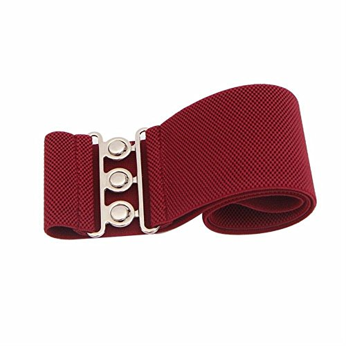 Belt Wine (Women's Fashion Wide Hook Stretchy Elastic Waist Belt Waistband 5Colors (X-Large, Wine)