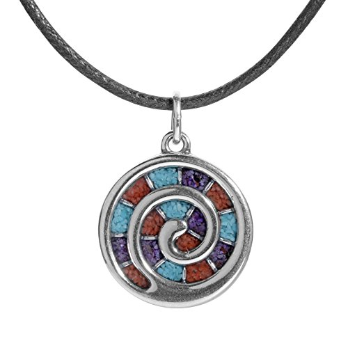 American West Sterling Silver Turquoise, Coral and Sugilite Gemstone Inlay Spiral Black Leather Pendant Necklace 17 - Gemstone Pendant Inlay