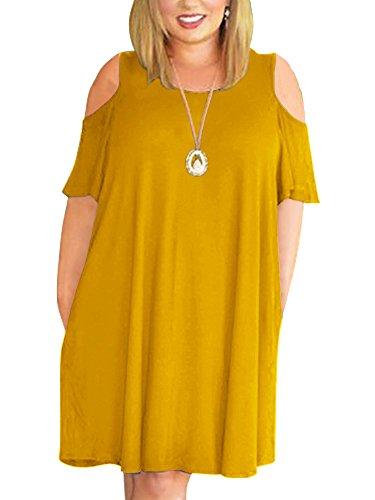 271cf1b8506d Nemidor Women's Cold Shoulder Plus Size Casual T-shirt Swing Dress With  Pockets