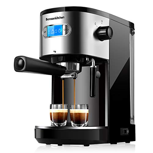 Espresso Machine 20 Bar Coffee Machine with Milk Frother Wand, 1350W High Performance No-Leaking 1.25L Removable Water…