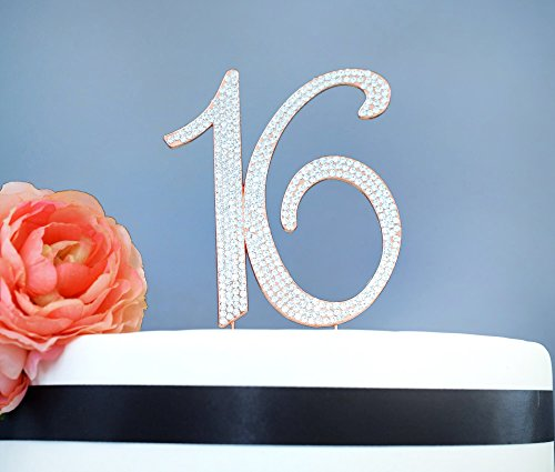 Birthday Cakes Roses - Sweet 16 ROSE GOLD Cake Topper | Premium Sparkly Crystal Diamond Rhinestones | 16th Birthday Party Decoration Ideas | Quality Metal Alloy | Perfect Keepsake (16 Rose Gold)