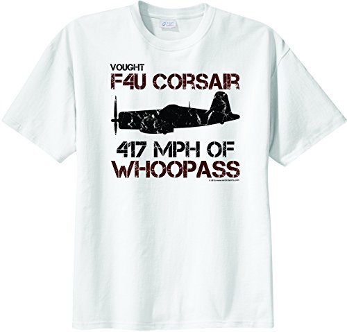 WarbirdShirts Men's F4U Corsair 417 MPH of Whoopass Short Sleeve T-Shirt White M (F4u Corsair Specifications)