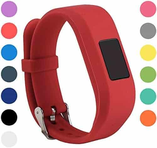 StrapsCo Silicone Rubber Replacement Watch Band Strap Compatible with Garmin Vivofit Jr