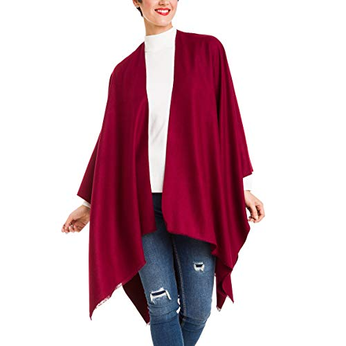 Cardigan Poncho Cape: Women Elegant Cardigan Shawl Wrap Sweater Coat for Winter (Burgundy)