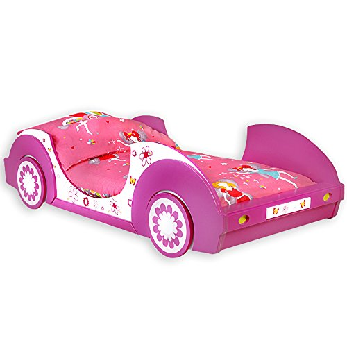 Deuba Girls Single Bed Frame Junior 90x200 cm Standard Mattress Pink Butterfly Flowers Bedroom Car