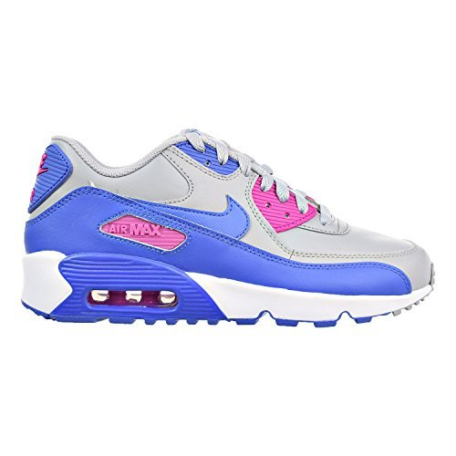 Nike Air Max 90 LTR Big Kid's Shoes Wolf Grey/Comet Blue/Fire Pink 833376-008 (4 M US)