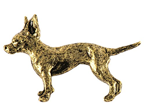 Creative Pewter Designs, Full Body Chihuahua Handcrafted Dog Lapel Pin Brooch, 24k Gold Plated, (Pewter Lapel Dog Pin)
