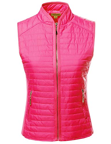 Tight Fit Solid Basic Quilted Vest Side Rib Panel Details Ne