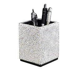 Crystal Pencil & Pen Pot Holder Box With Rhinestones
