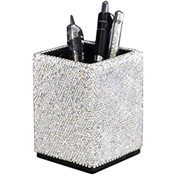 Bestbling Crystal Pencil Pen Pot Holder Box Bling Rhinestone Pen Organizer Holder Cosmetic Pen Container (Silver, Spquare)