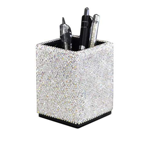 Bestbling Crystal Pencil Pen Pot Holder Box Bling Rhinestone Pen Organizer Holder Cosmetic Pen Container (Silver, -