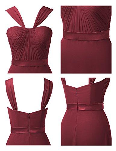Gown Neck Prom Long A Burgundy Y Bridesmaid Evening Dress Maxi Chiffon Dress Line Alicepub HRxqvp0w