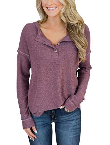 - PRETTODAY Women's Long Sleeve Henley Tops Button Down Pullover Blouses (Small, Purple)