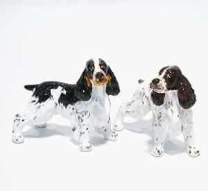 English Springer Spaniel Dog Ceramic Figurine Salt Pepper Shaker 00003 Ceramic Handmade Dog Lover Gift Collectible Home Decor Art and Crafts