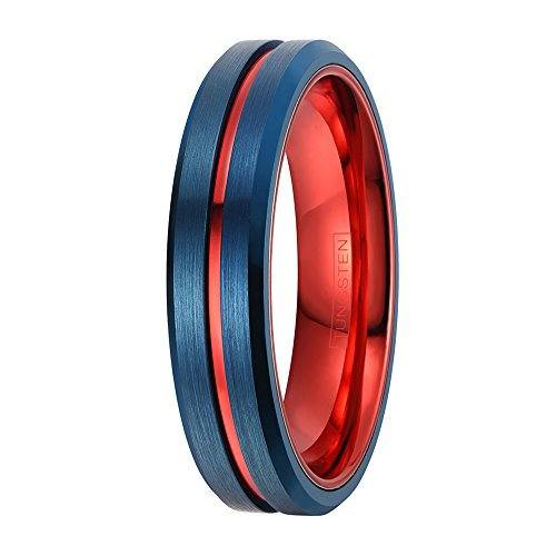King's Cross Super Heroic Royal Blue Tungsten Wedding Band w/Red Stripe & Beveled Edges. Available in 6mm & 8mm (tungsten (6mm), -