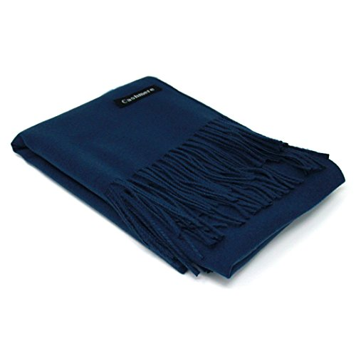 - Navy Blue 100% Cashmere Scarf - Gift Box, Large Size, Removable Tag, Limited Availability