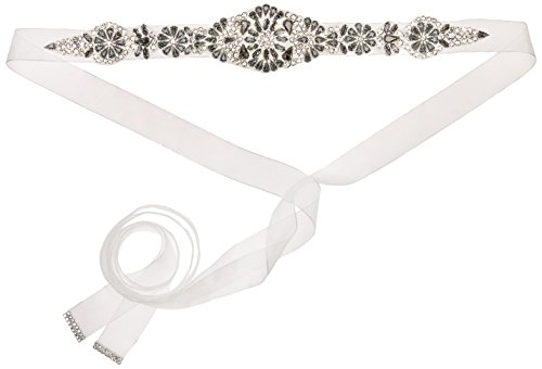 Nina Women's Aneesa Romantic Floral Embellished Organza Bridal Belt, Ivory, One Size by Nina