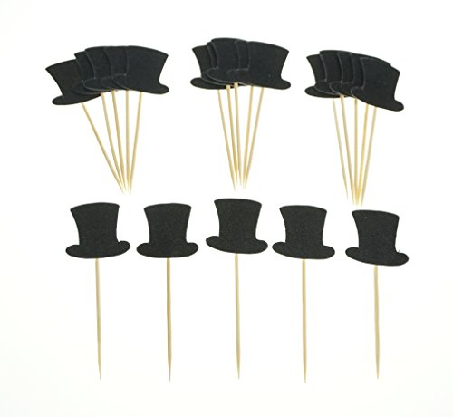 Price comparison product image Bilipala Tophat Cake Cupcake Toppers Picks Decorations Supplies Appetizer Picks,  20 Counts