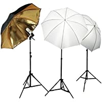 CowboyStudio Photo Studio Soft Reflective Umbrella Continuous Triple Lighting Kits, 600 Watt Output, 3050B/G KIT