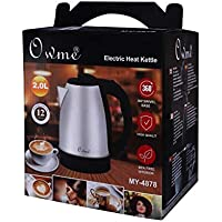 Owme Electric Kettle Tea and Coffee Maker Milk Boiler Water Boiler Tea Boiler Coffee Boiler Water Heater Stainless Steel Kettle 2.0 LTR Stainless Steel-MY-4878