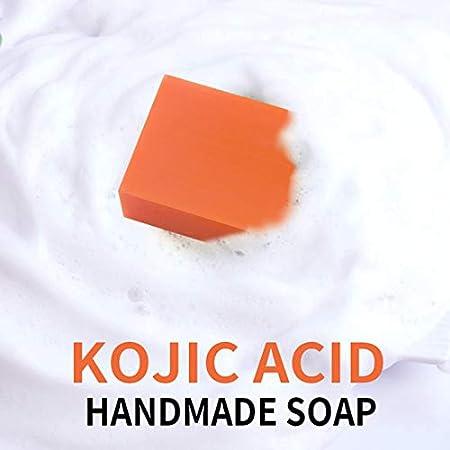 Bonarty Barra de Jabón de ácido Kójico Hecha a Mano para Aclarar La Piel, Blanquear La Cara, Lavar El Cuerpo, Limpieza Profunda - 100 gramos