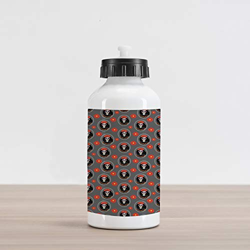 (Ambesonne Sugar Skull Aluminum Water Bottle, Dia de Los Muertos Calavera Katrina Portraits in Oval Shaped Frames, Aluminum Insulated Spill-Proof Travel Sports Water Bottle, Grey and)