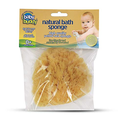 "Baby Buddy Natural Baby Bath Sponge 4"" Soft Yellow Sea Sponge Soft on Baby's Tender Skin, Biodegradable, Hypoallergenic, Absorbent Natural Sea Sponge, 1 Pack"