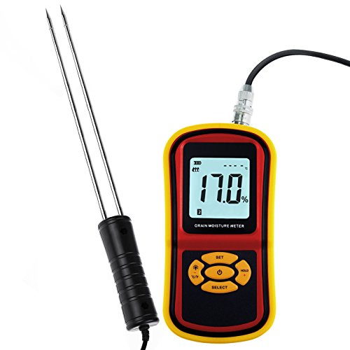 Analyzer Temperature (Portable Digital Grain Moisture Meter, Compact Rice Corn Wheat Tester Analyzer- Range 5~30%, Temperature -14~140°F with LCD Display, Hygrometer Humidity)