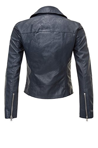 Only Giacchetto Summer 15144751 Biker Faux Donna Crop Dark Leather Blue WfRwWqg1xH