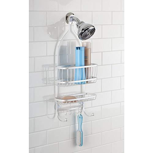 InterDesign York Lyra - Bathroom Shower Caddy Shelves - Pearl White - 10 x 4 x 22 inches by InterDesign