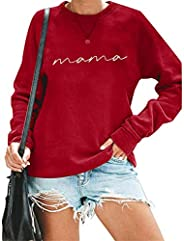 Womens Crewneck Sweatshirt Mama Letter Print Long Sleeve Loose Fashion Pullover Top